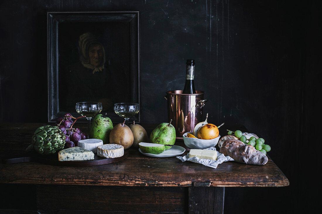 Stillleben mit Früchten, Wein und Käse