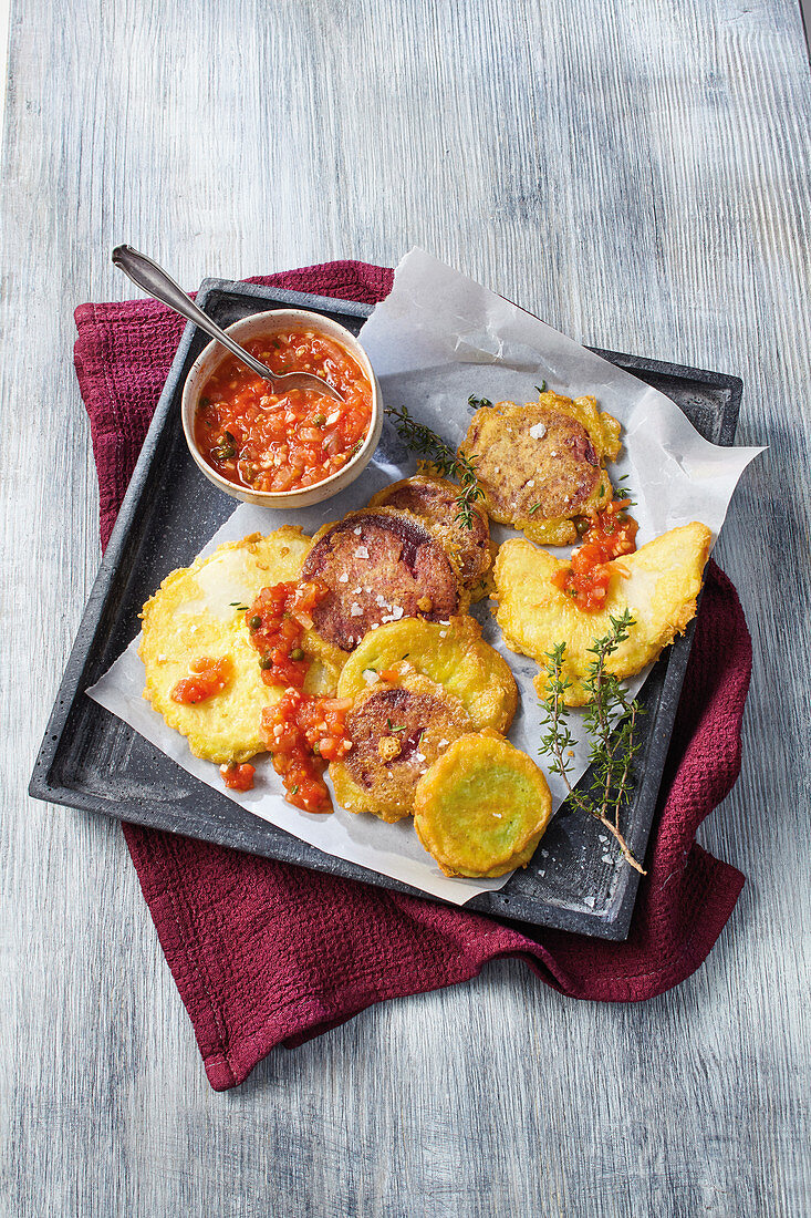 Vegetable piccata with tomato sauce