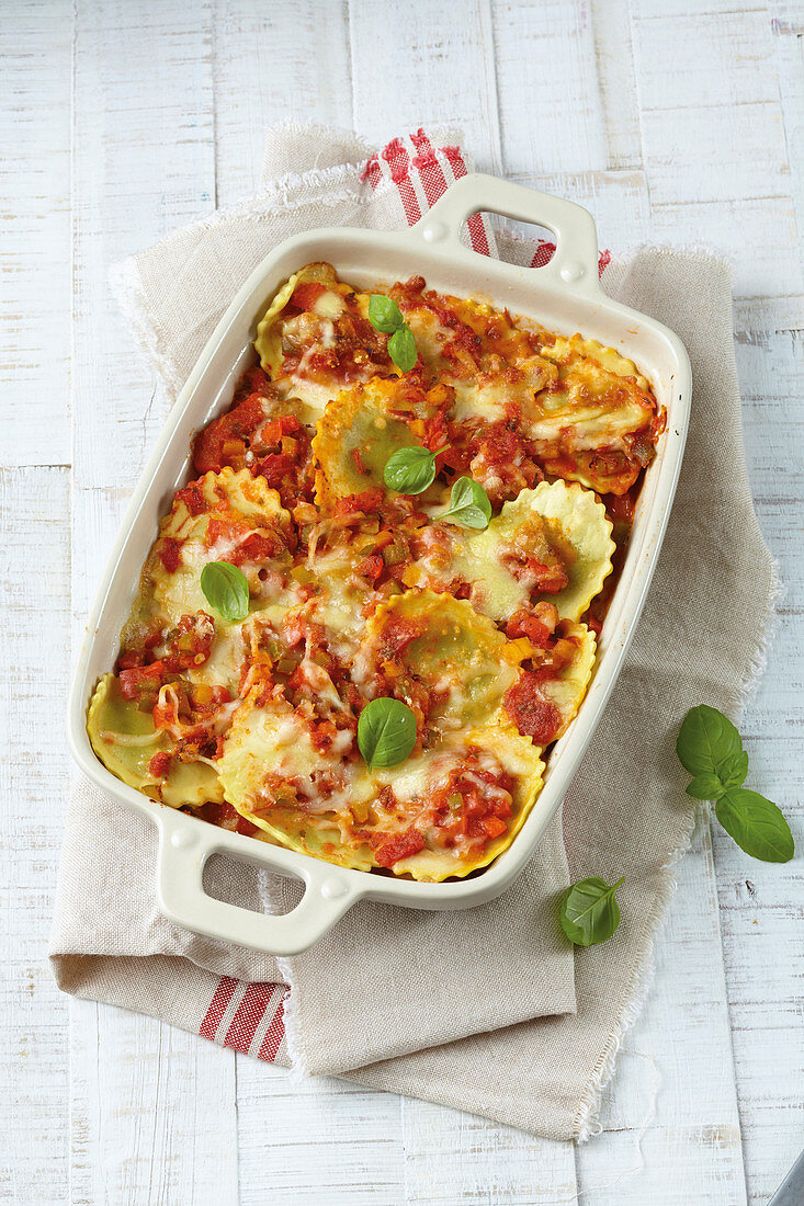 Ravioli, cheese, and tomato casserole