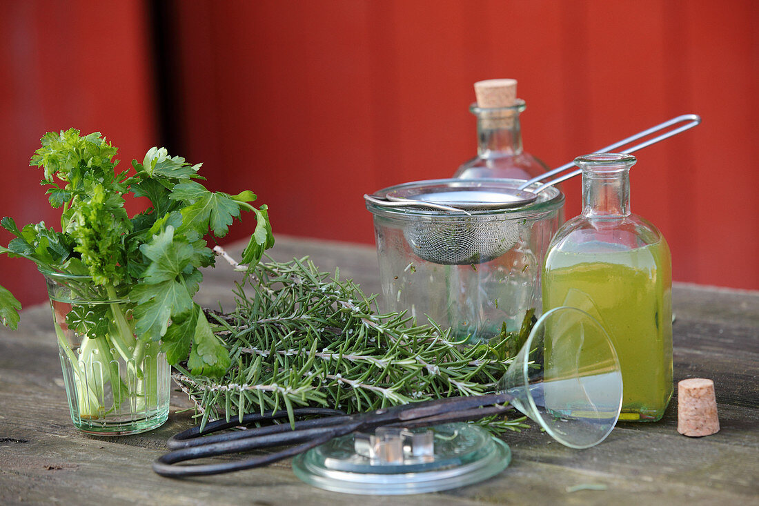 Ingredients and utensils for making spring facial water