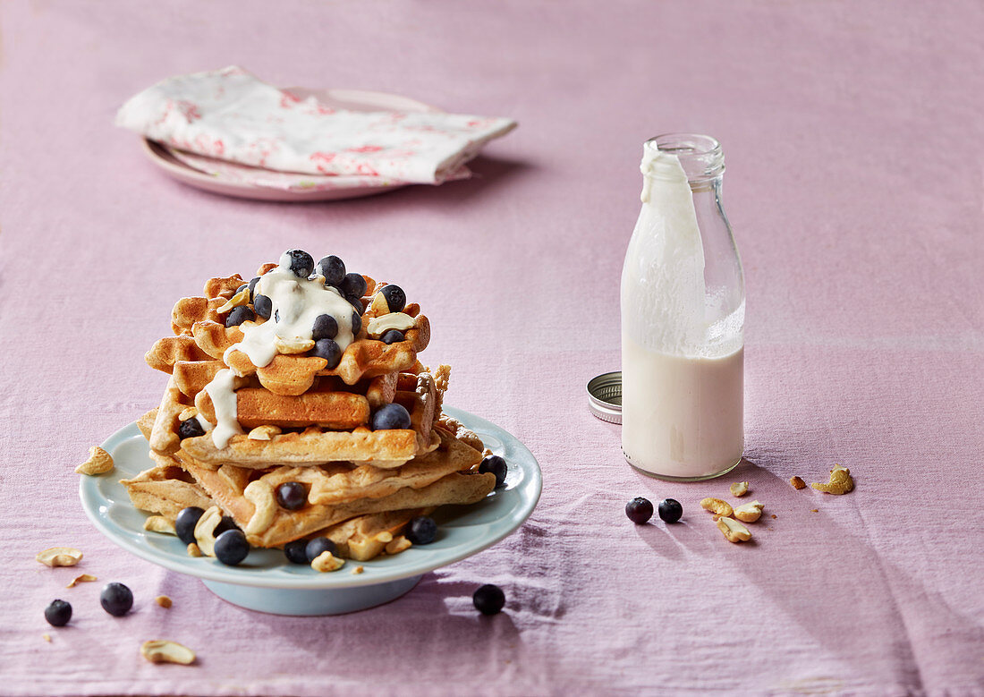 Spelt and cashew waffles with blueberries