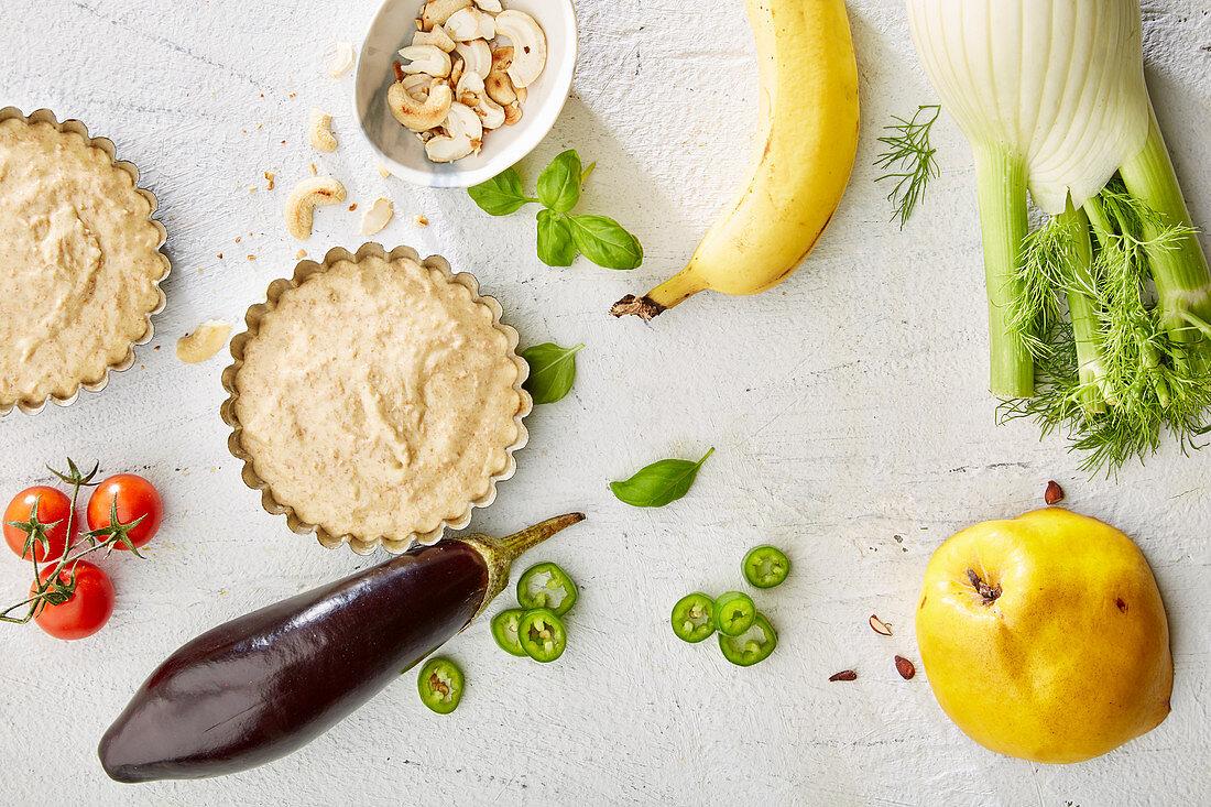 Ingredients for vegetarian mini tarts