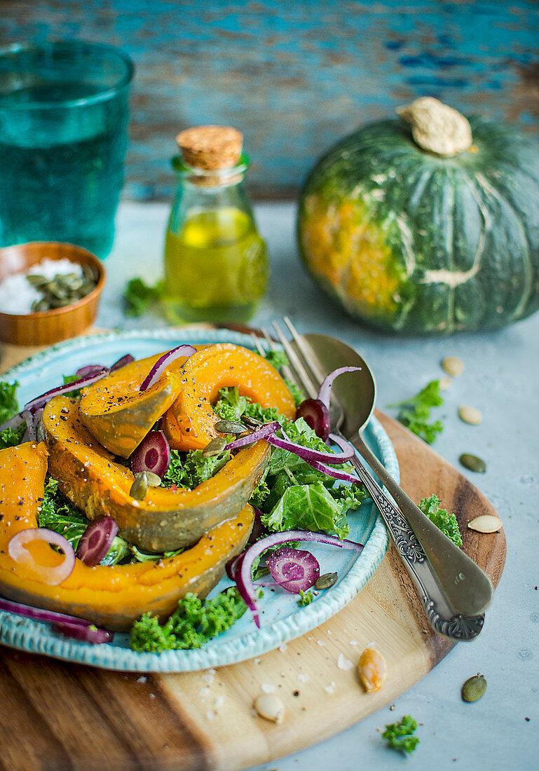 Roasted Pumpkin with kale salad