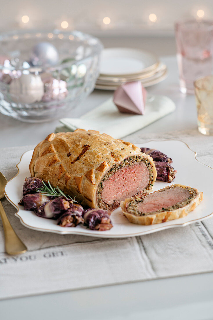 Beef Fillet Wellington style with Radicchio Rolls