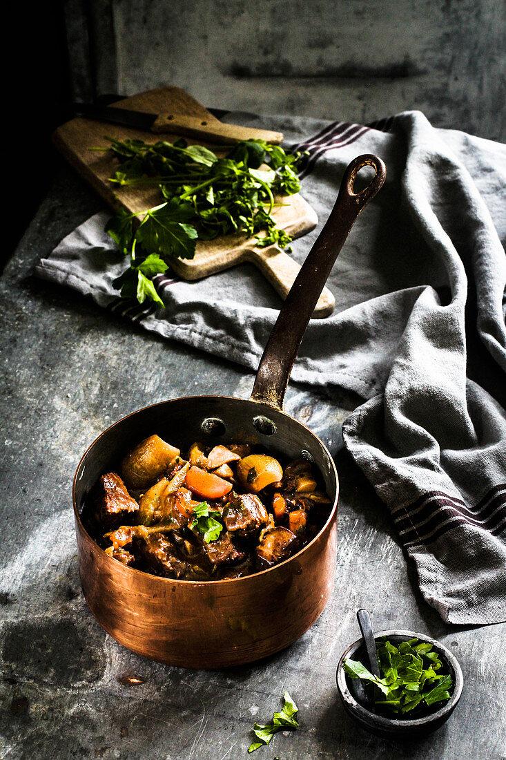 Boeuf Bourguignon in a copper pot