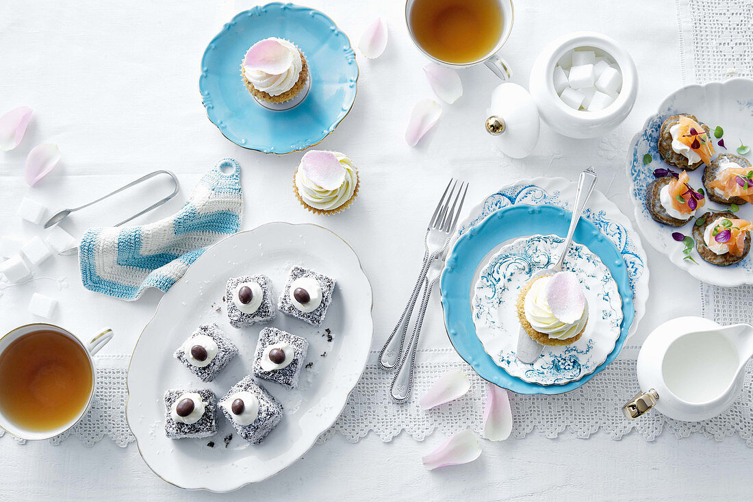 High tea with savoury and sweet snacks for Mother's Day