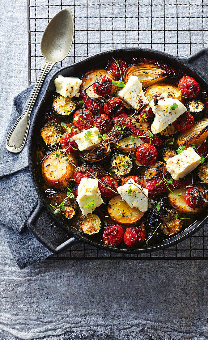 Oven-baked greek vegetable casserole with feta cheese
