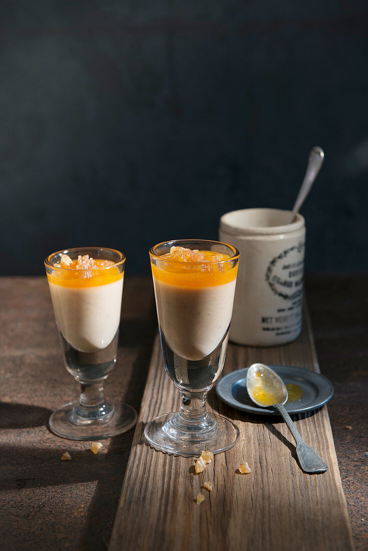 Bavarian Chestnut Cream with Persimmon Coulis