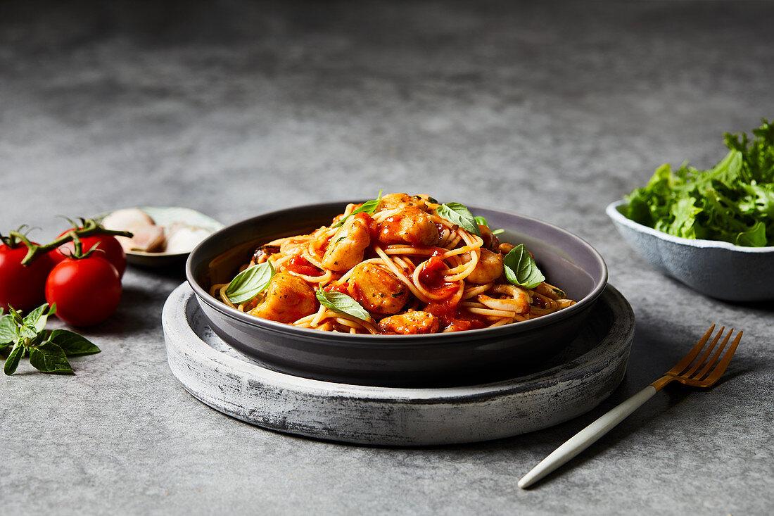 Spaghetti marinara with seafood