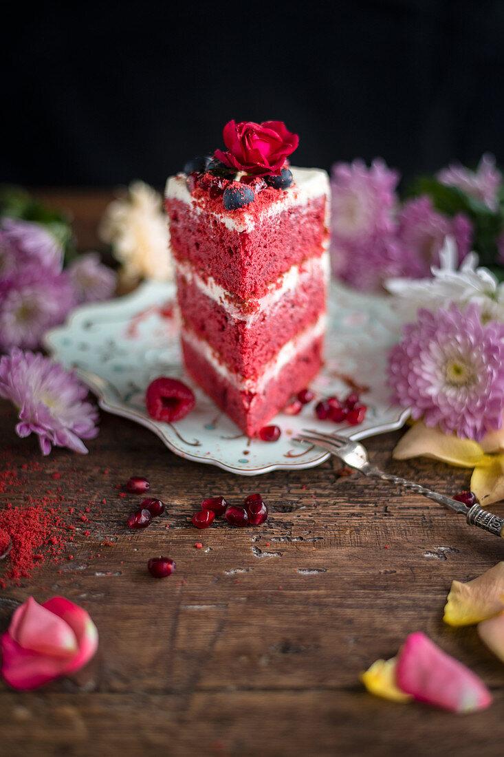 A sweet red velvet layer cake
