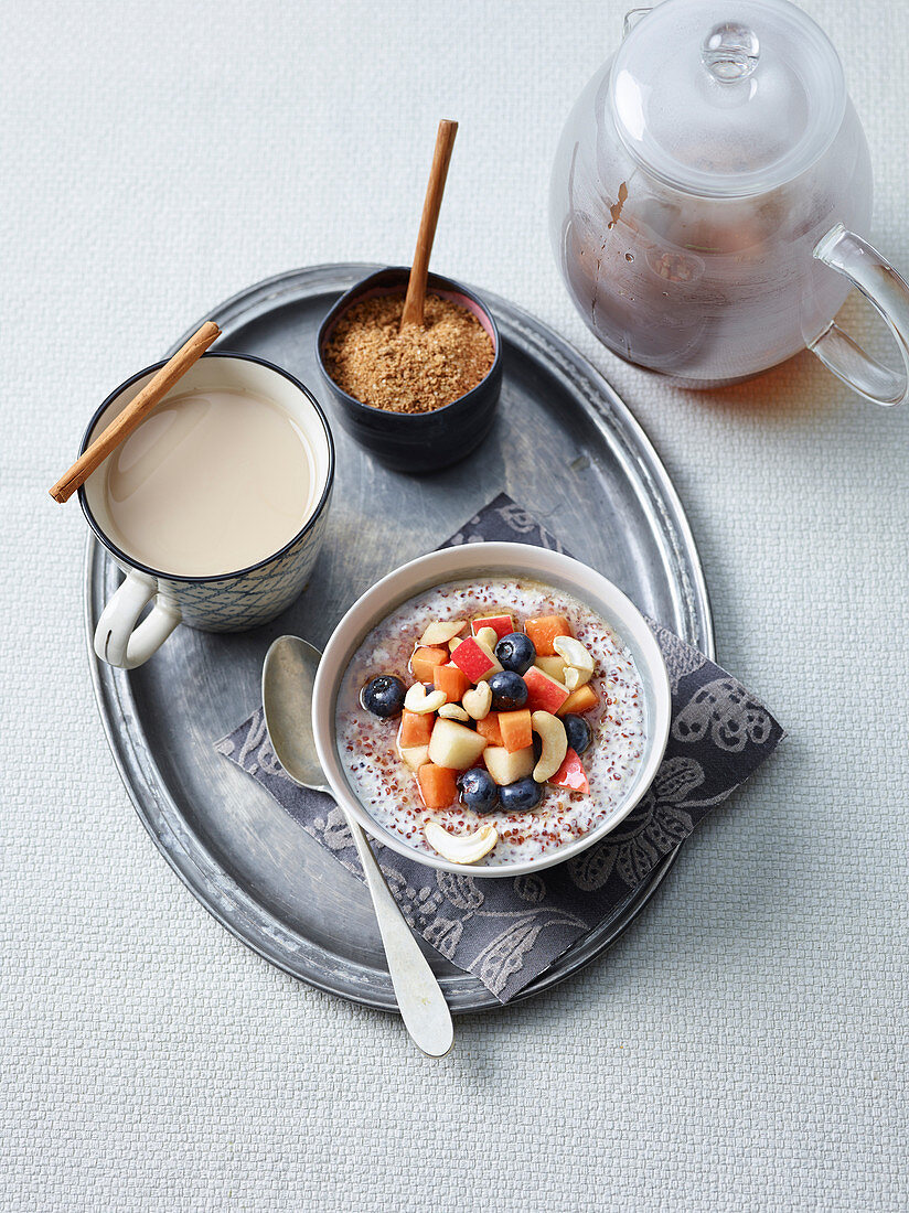 Quinoa and Cashew Nuts Pudding and Chai with Homemade Spice Mix