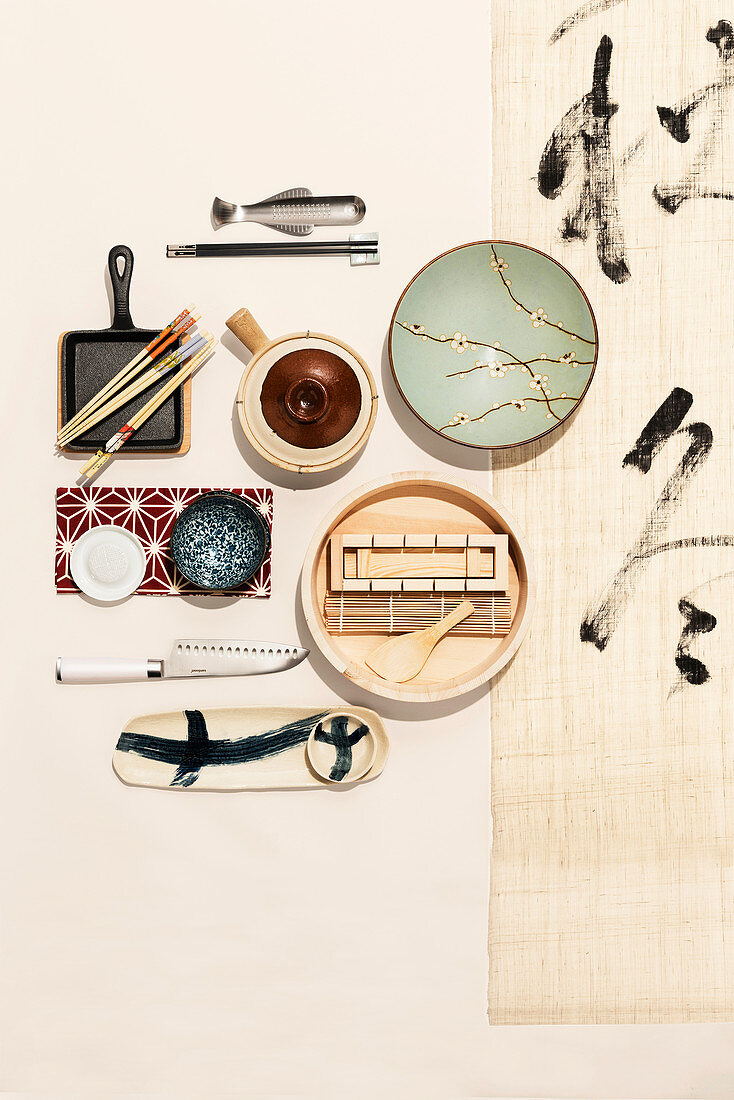 Various kitchen utensils for making Japanese cuisine