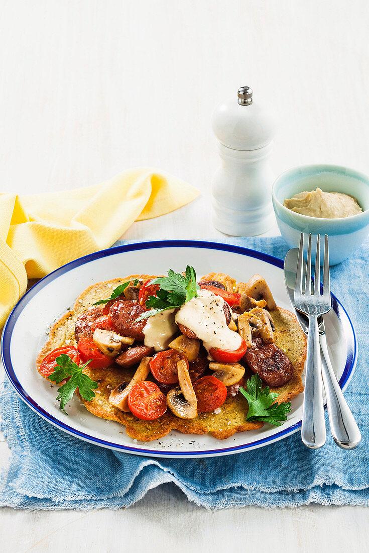 Mushrooms and chorizo on chickpea flatbreads