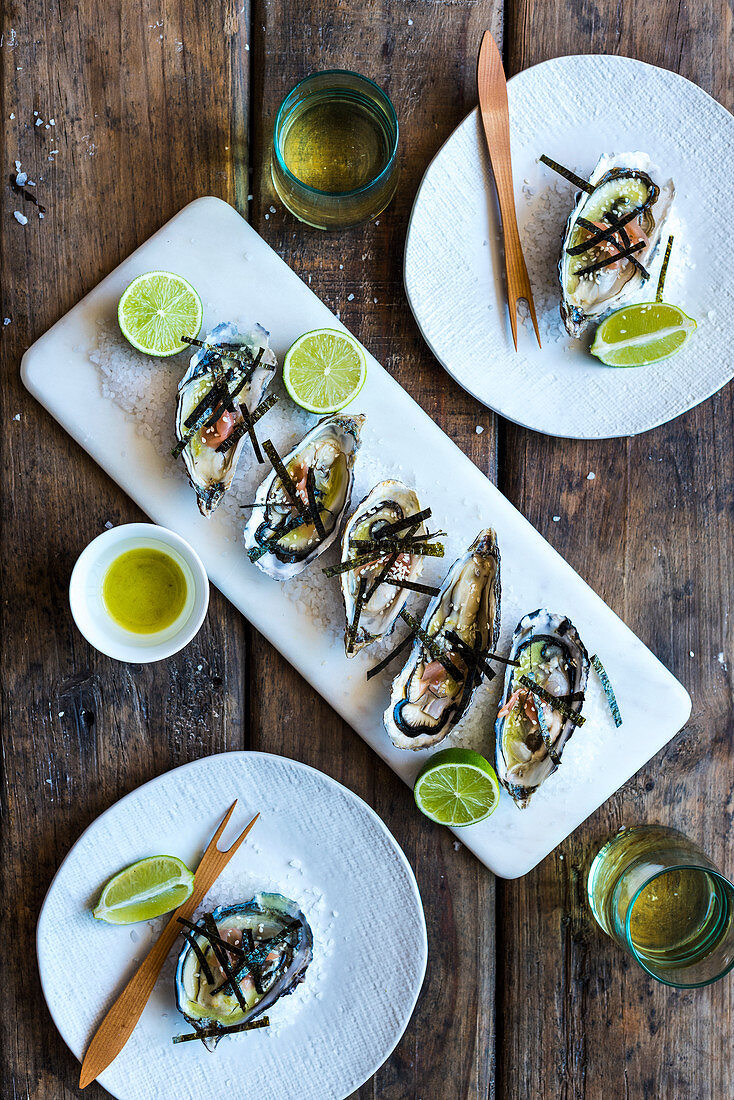 Oysters with wasabi, nori and lime dressing (top view)