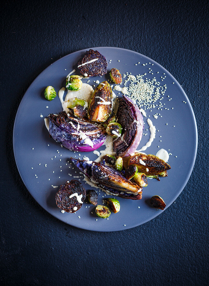 Roasted cabbage with tahini dressing