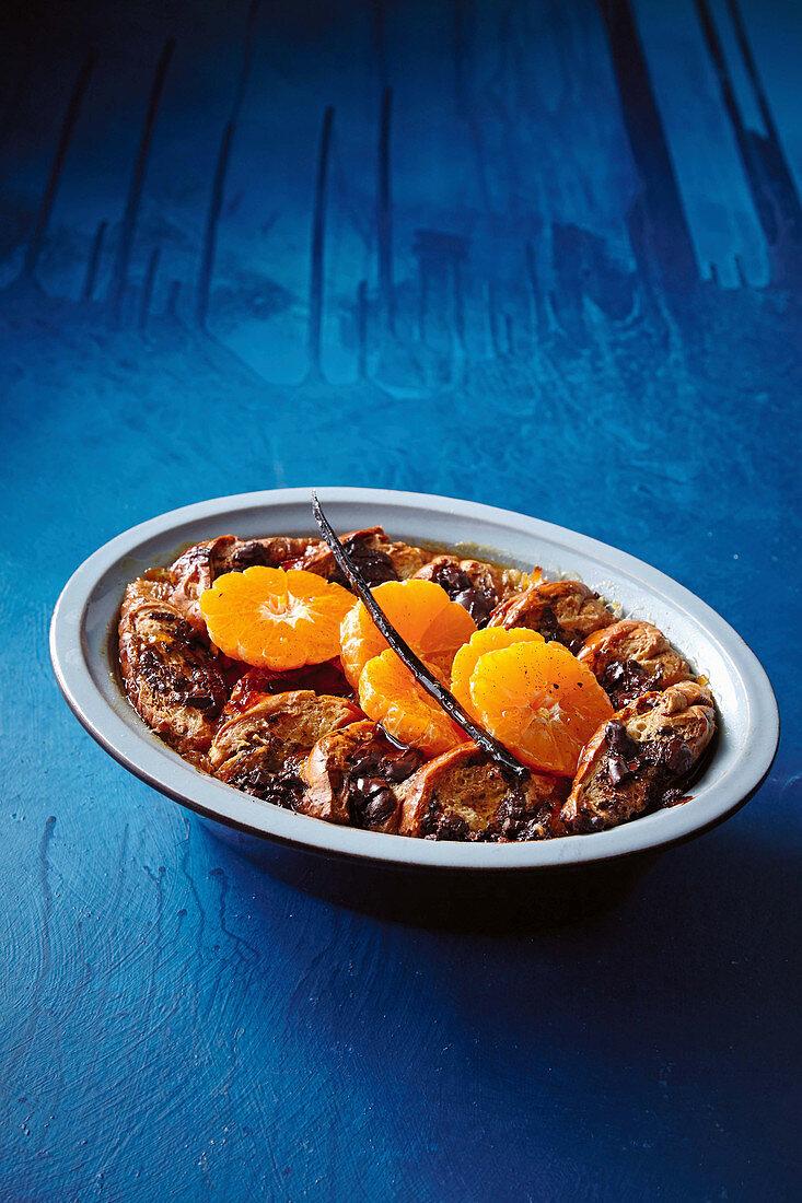 Choc-brioche pudding with spiced mandarins