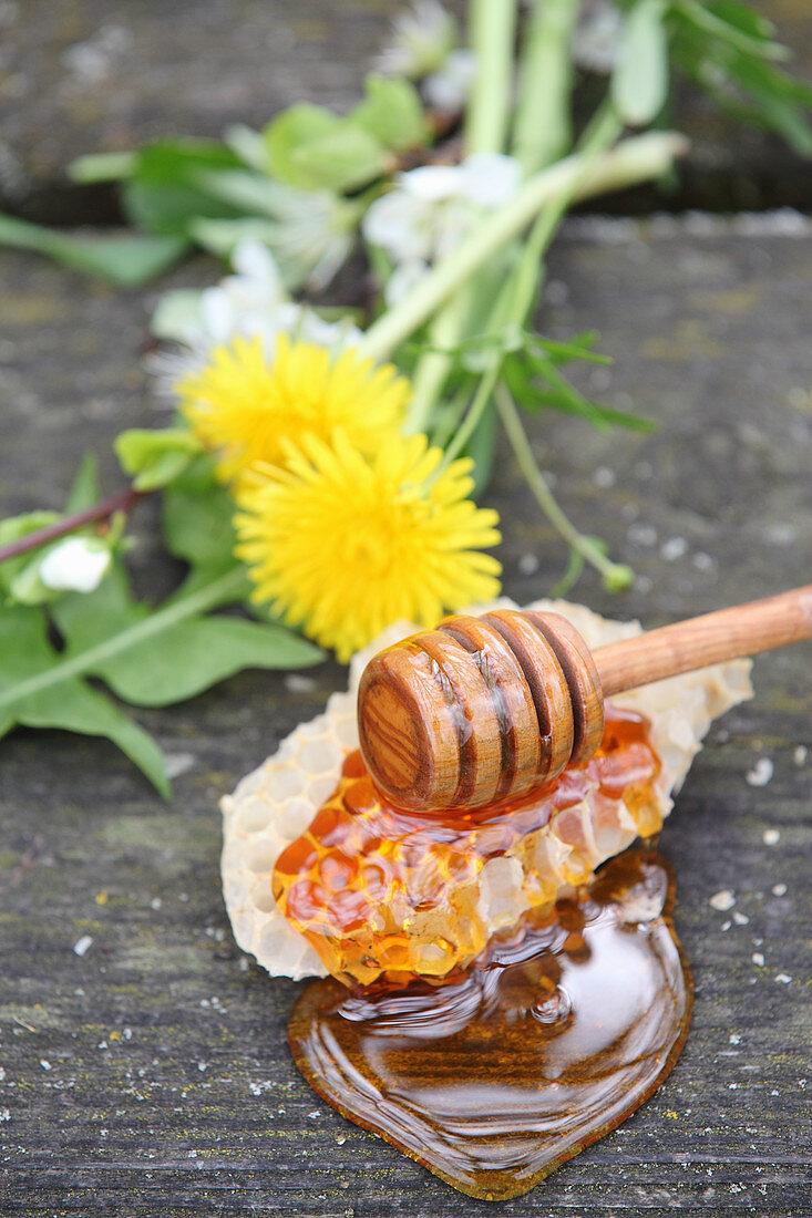 Liquid honey, honeycomb, and a honey dipper
