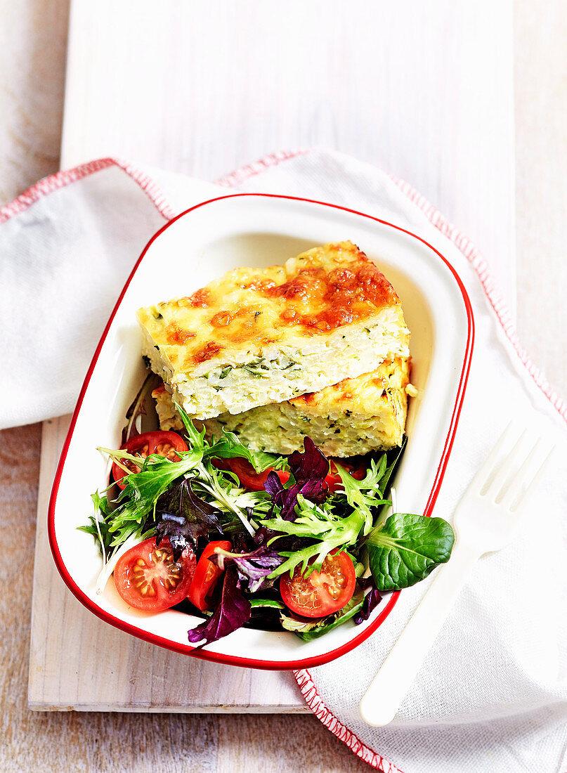 Zucchini Slice with salad