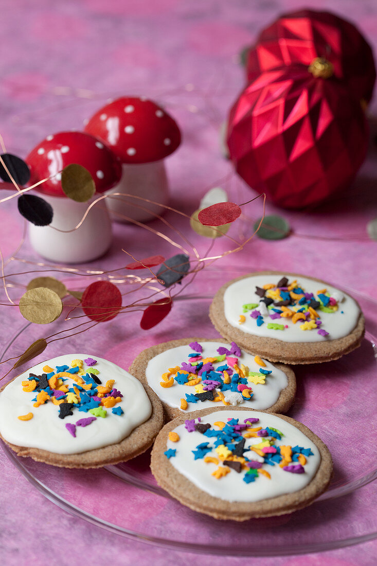 Gluten-free buckwheat biscuits with colorful sugar sprinkles