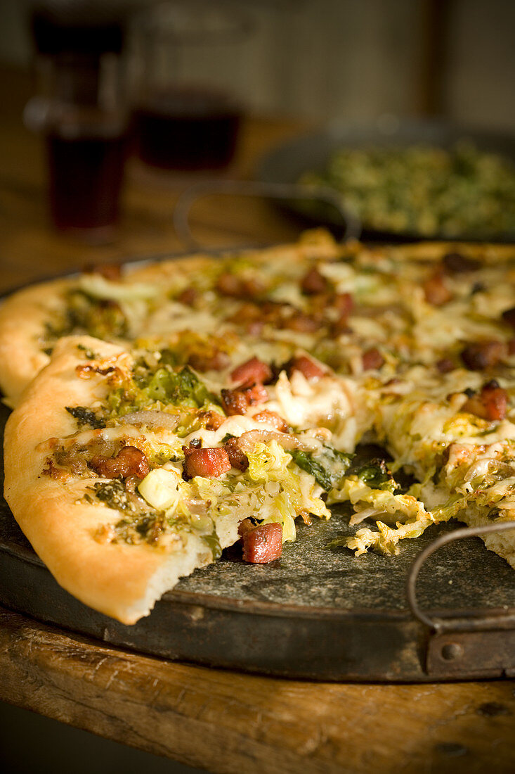 Cabbage Pizza with Pancetta Onion Cheese