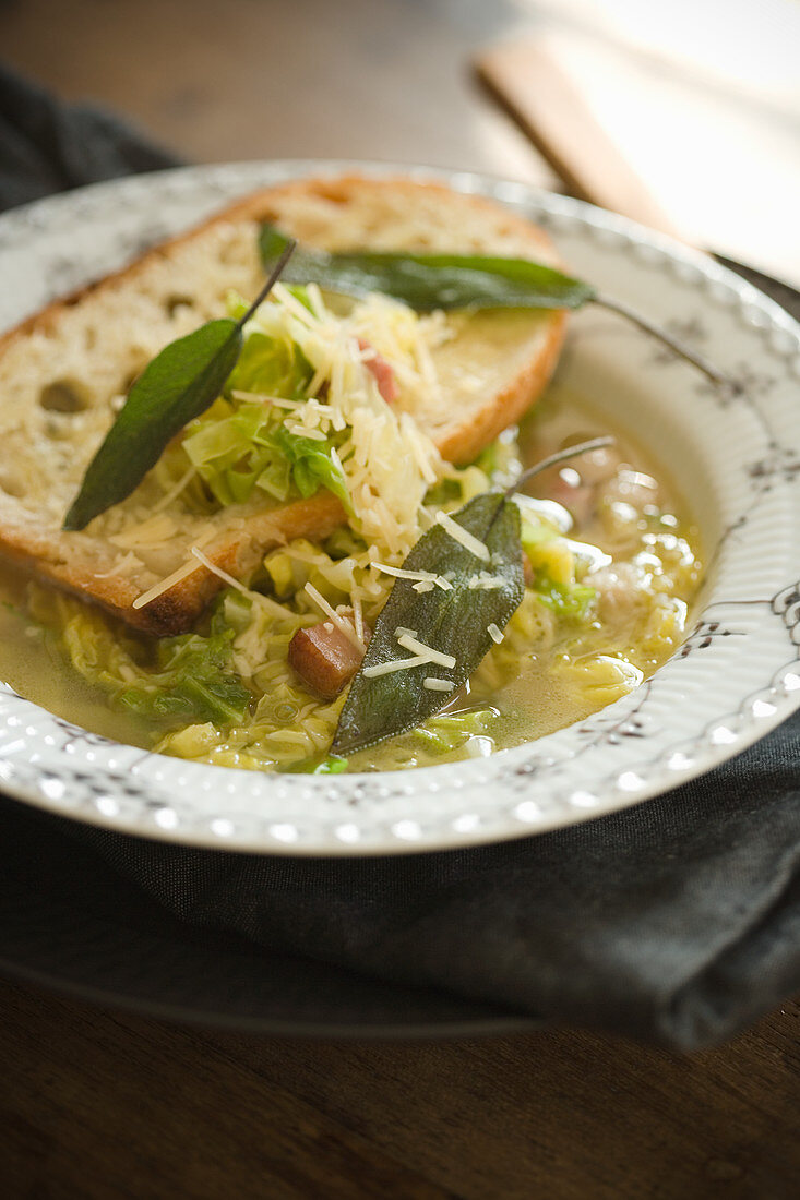 Cabbage Soup with Toast Parmesan Sage
