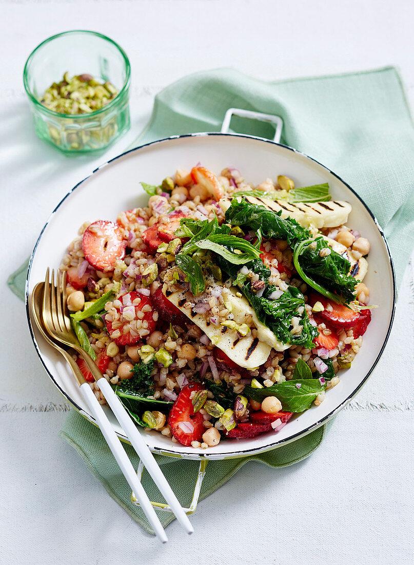 Barley, Kale and Strawberry Salad with Haloumi