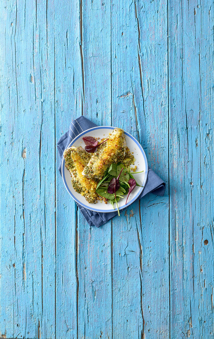 Seabass fillets with aromatic crumble