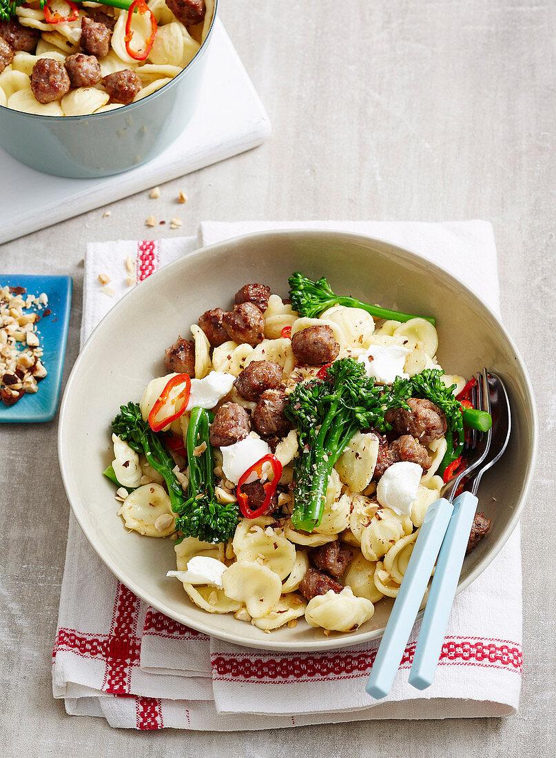 Boccolini, Goat's Cheese and Sausage Orecchiette