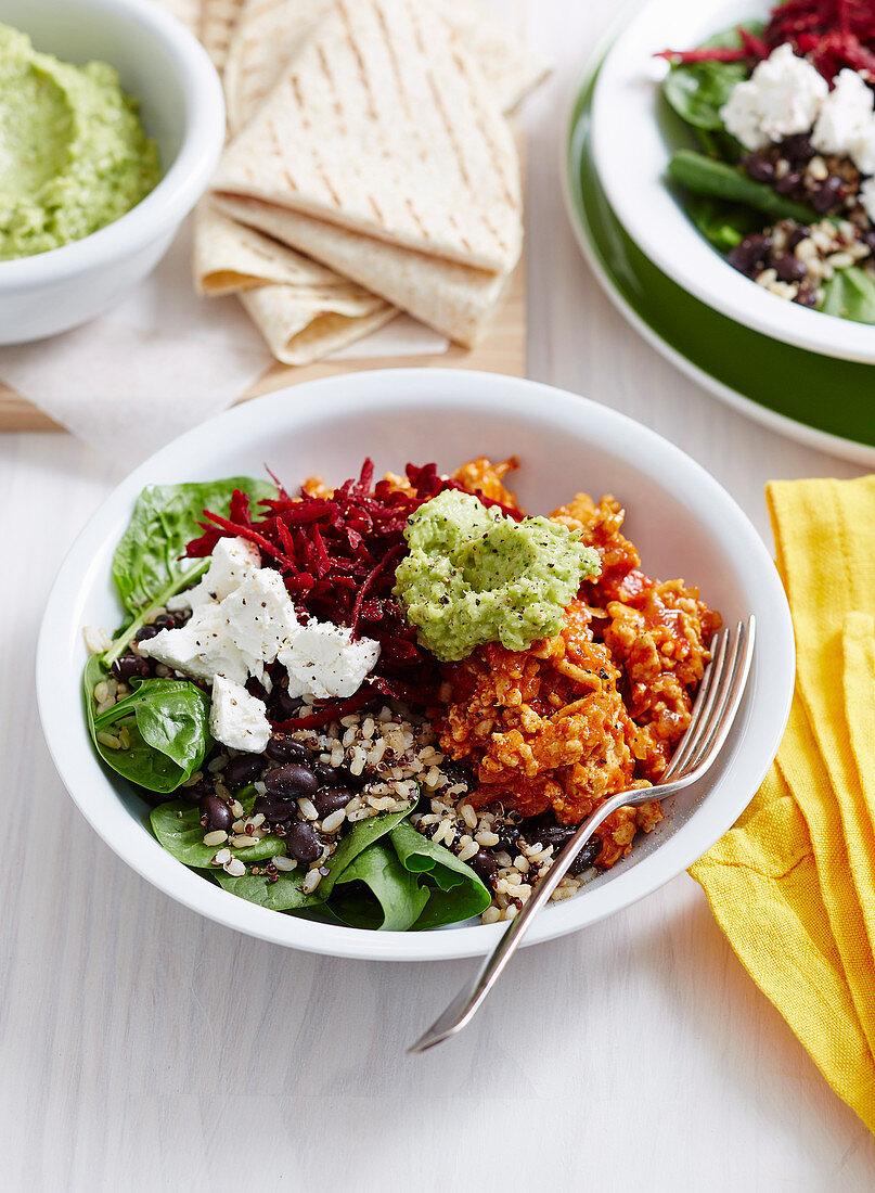 Super Burrito Bowls with Broccoli Guacamole