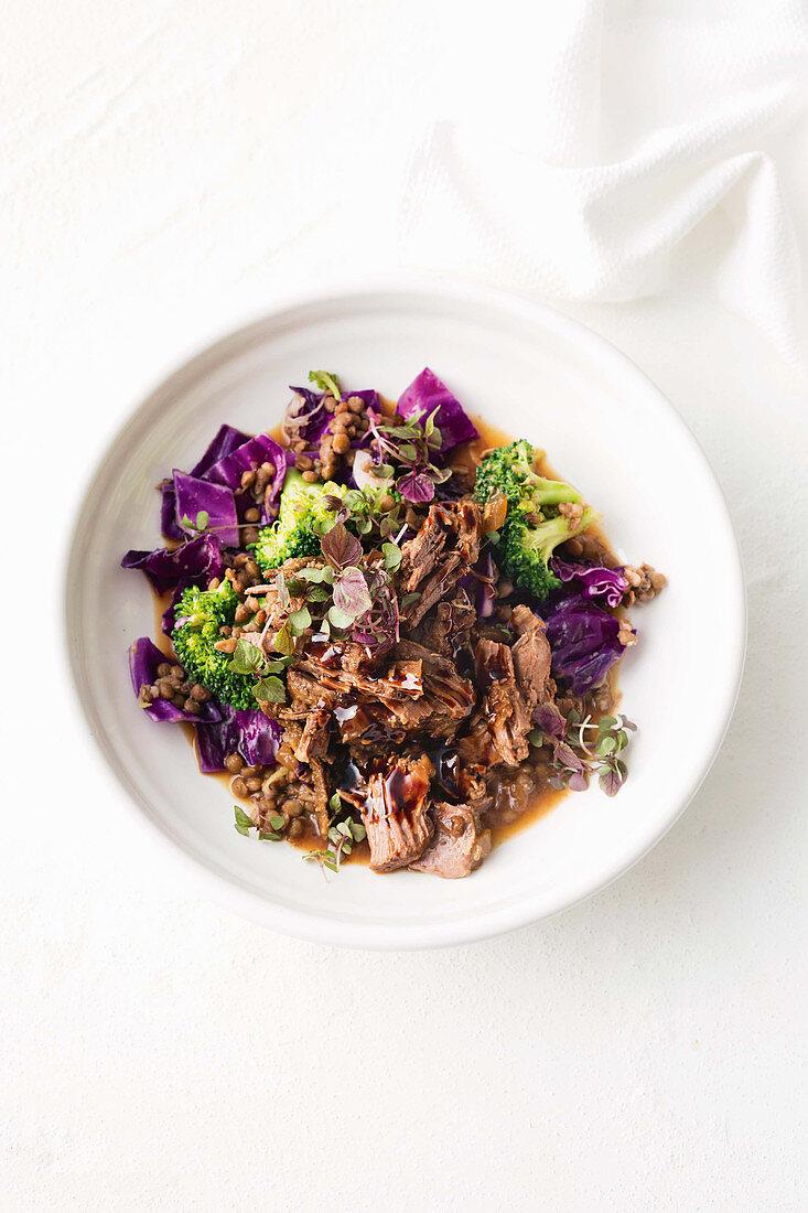 Lamb and lentil salad