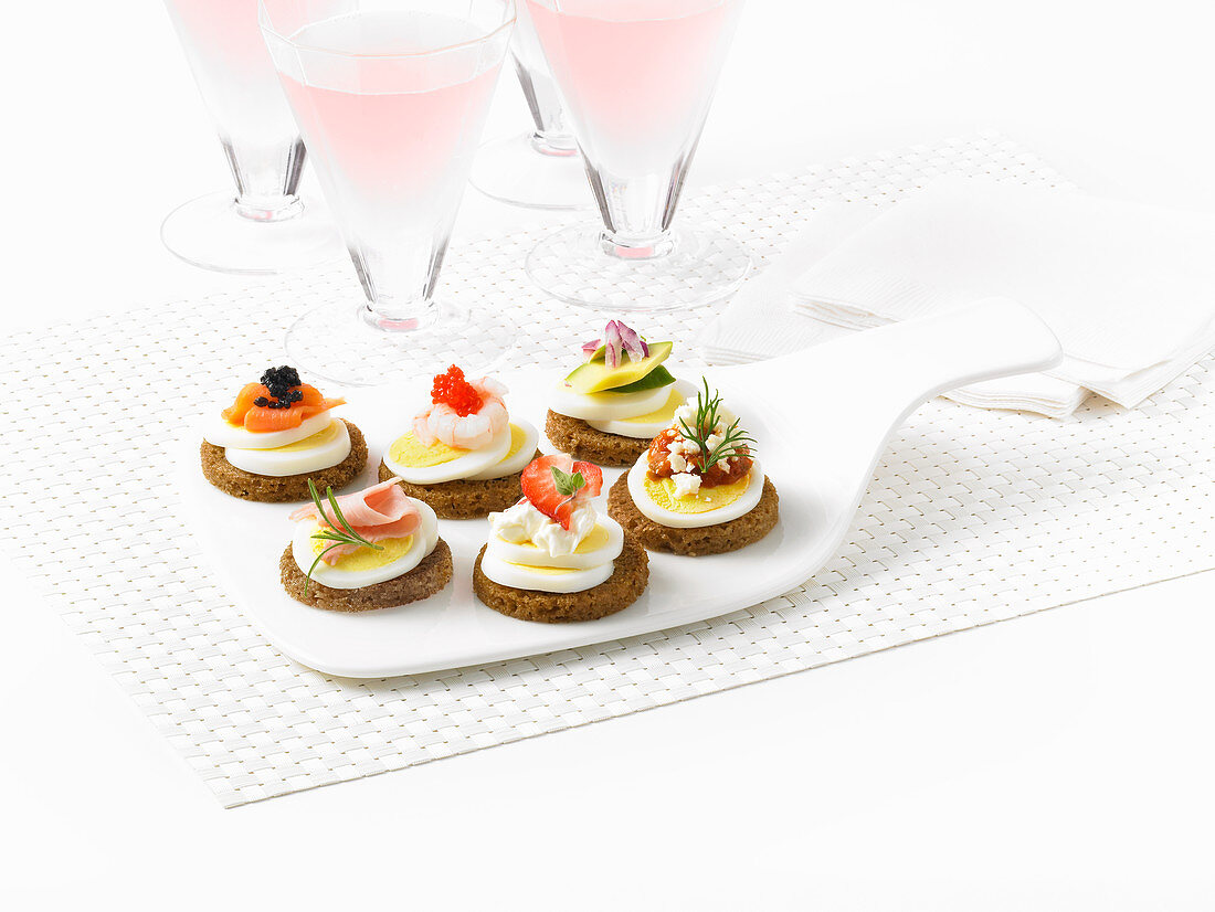 Canapes with hard boiled egg