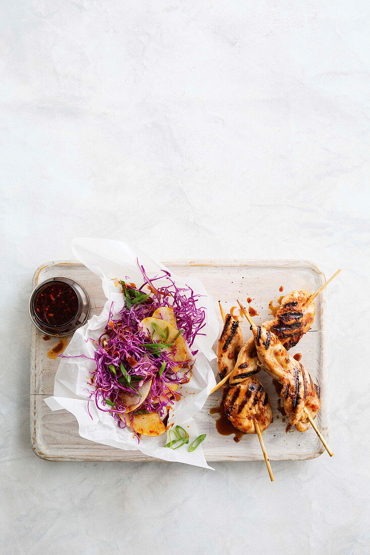 Asian chicken skewers with nashi slaw