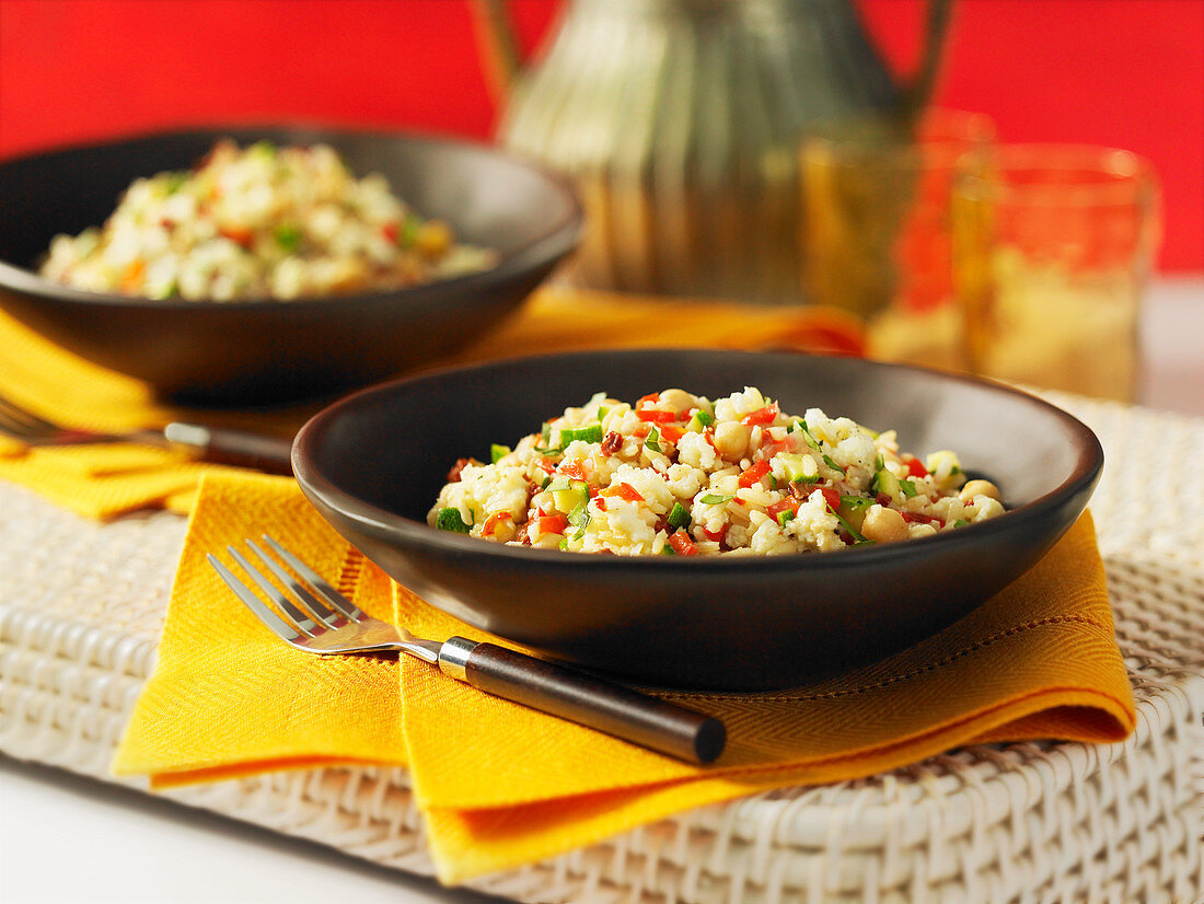Mediterranean brown rice with protein and vegetables