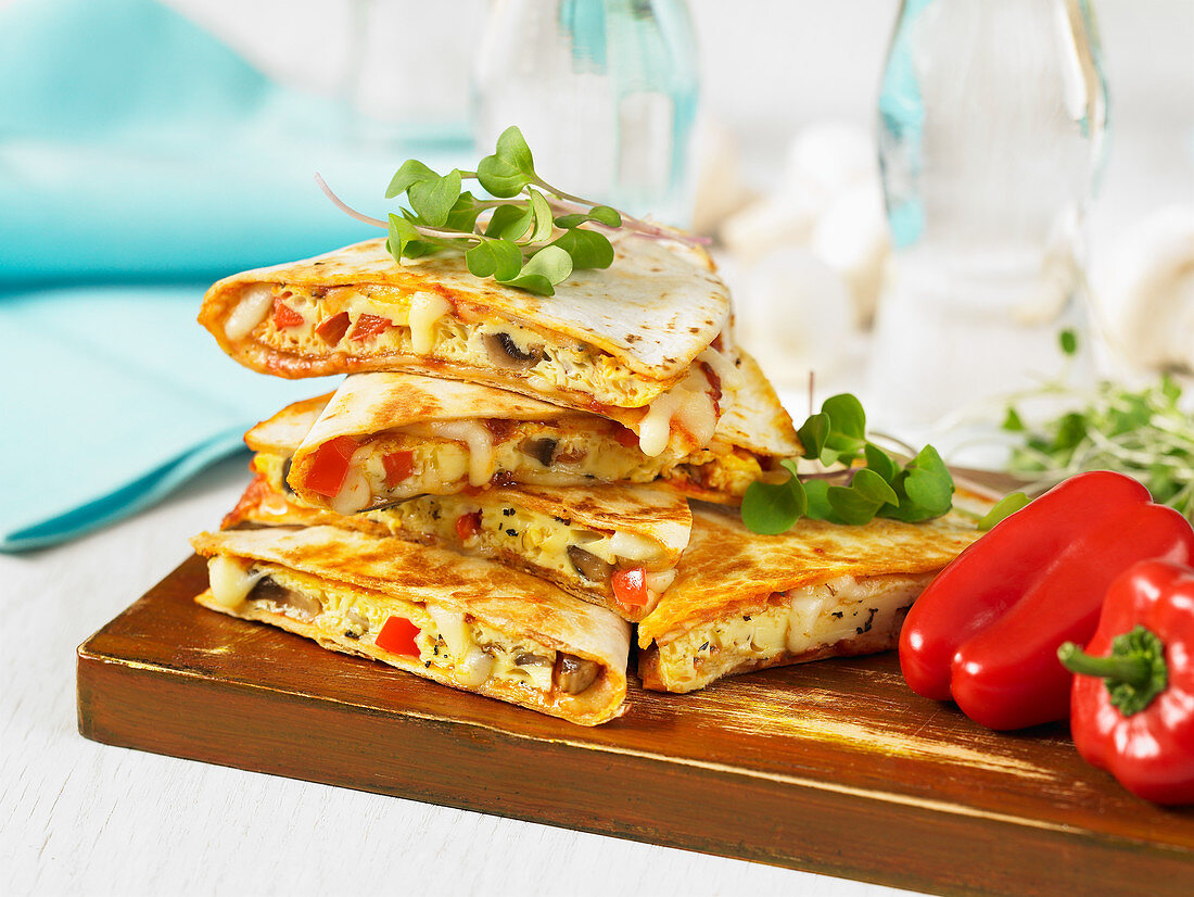 Pizza-dillas with cheese and paprika