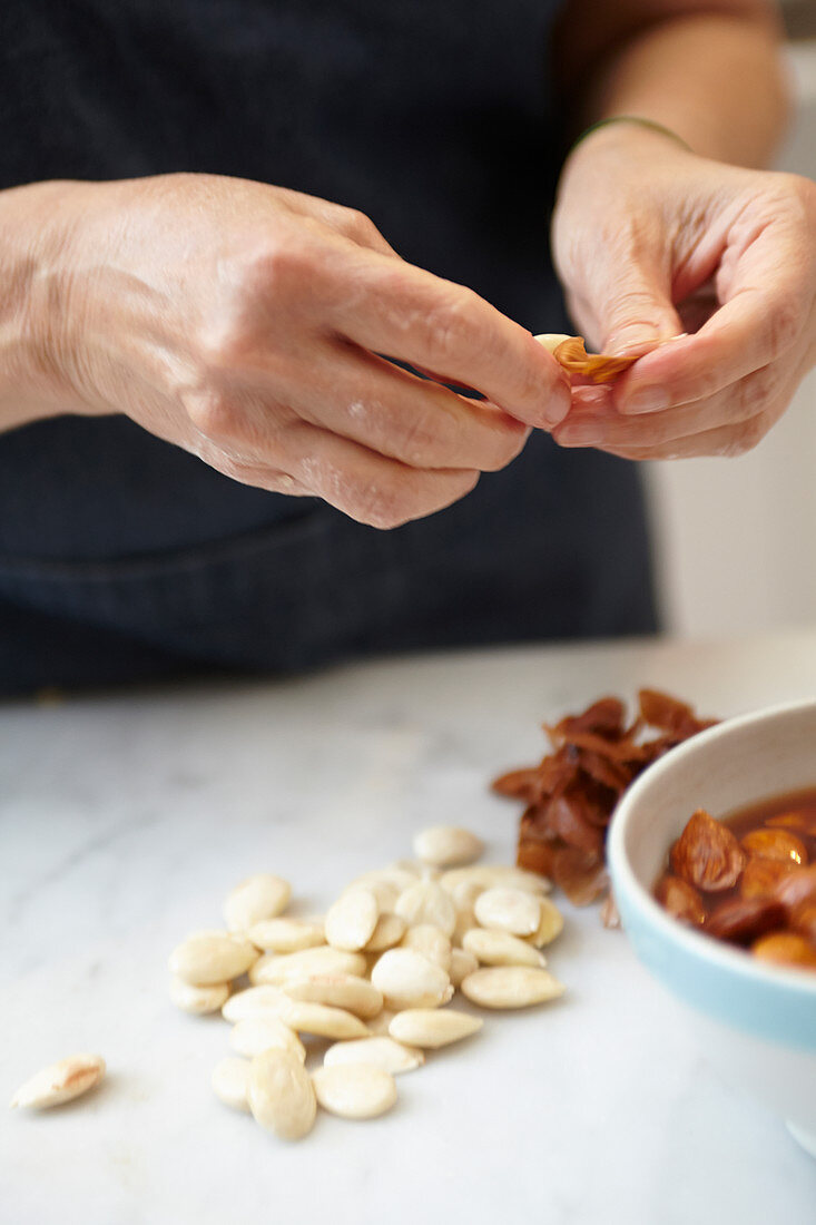 Almonds being shelled