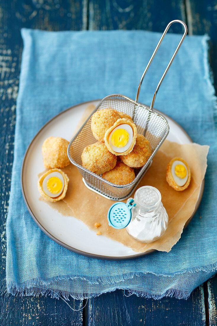 Quail eggs in breadcrumbs
