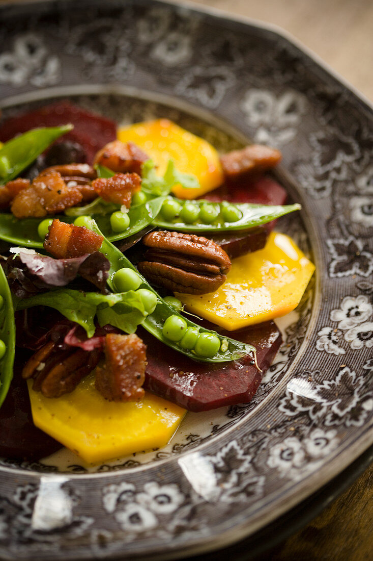 Bete salad with peas and bacon