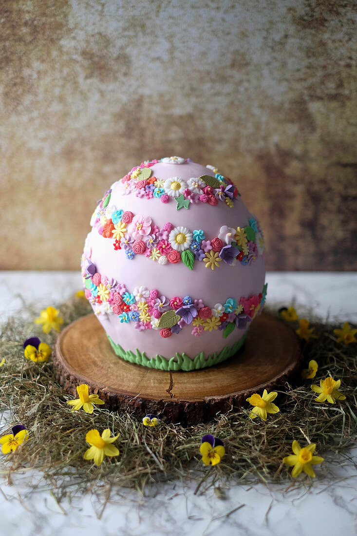 An Easter egg cake made with Baileys, chocolate and blackberries