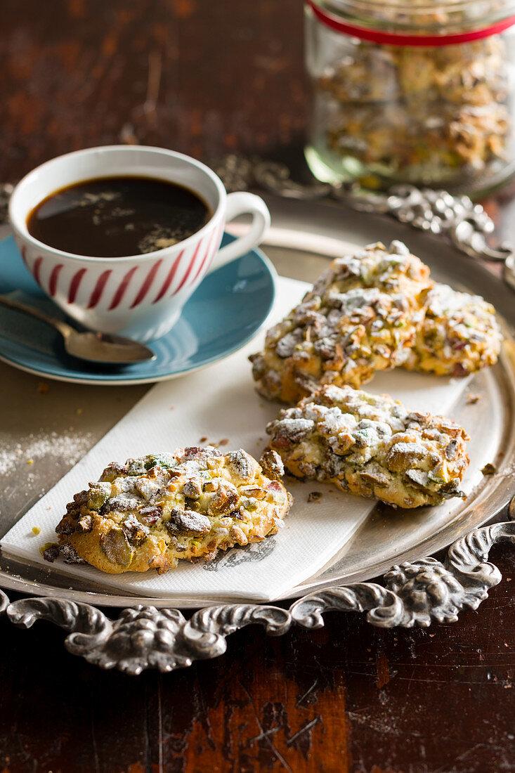 Pistachio pastini with coffee (Italy)