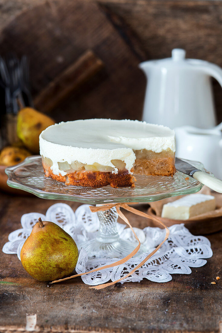 Caramel sponge, pear and Brie cheese mousse cake