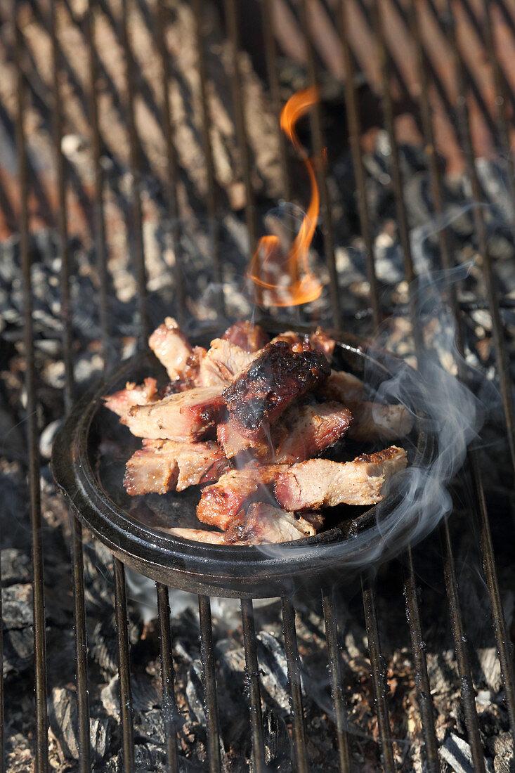 Grilled Jamaican jerk pork (marinated pork neck)