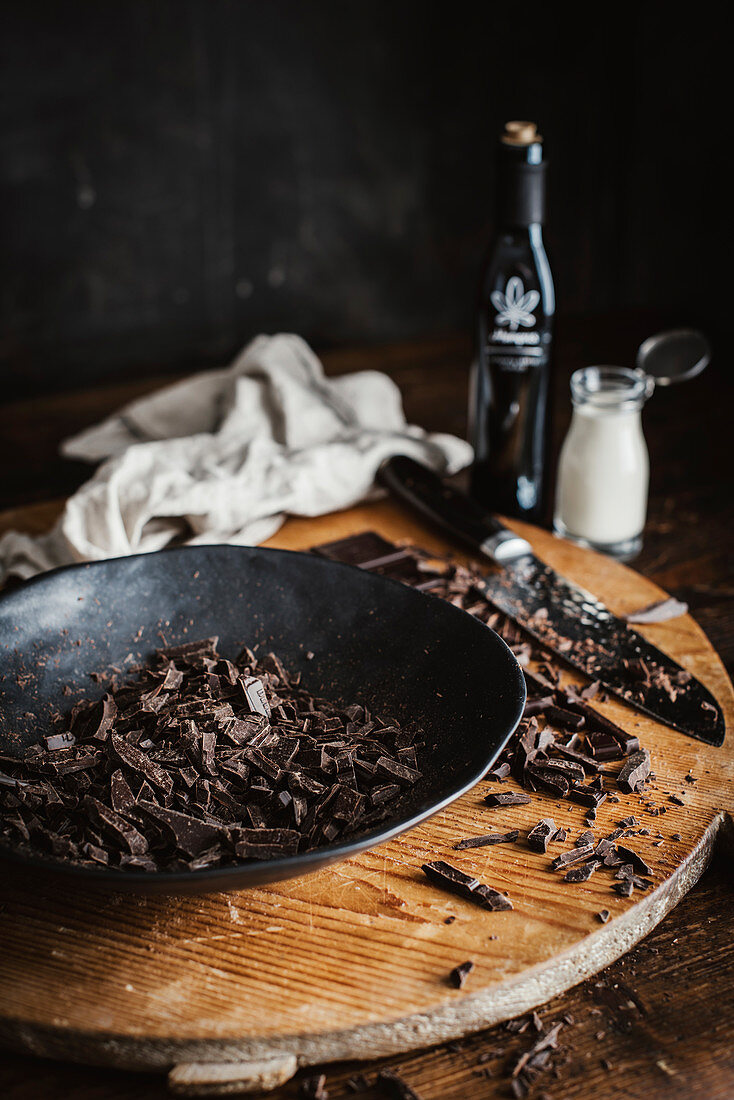 Chopped chocolate for making truffles