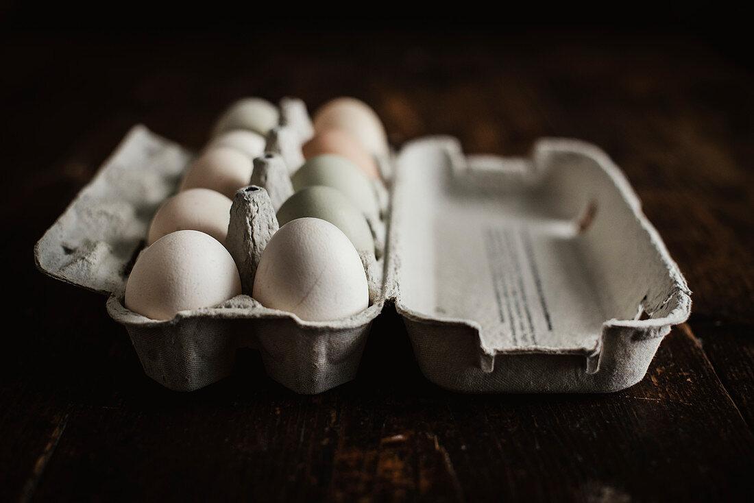 Hen's eggs in an egg box