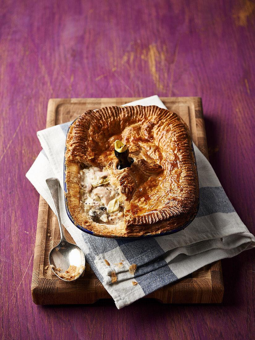 Chicken mushroom mustard and leek pie