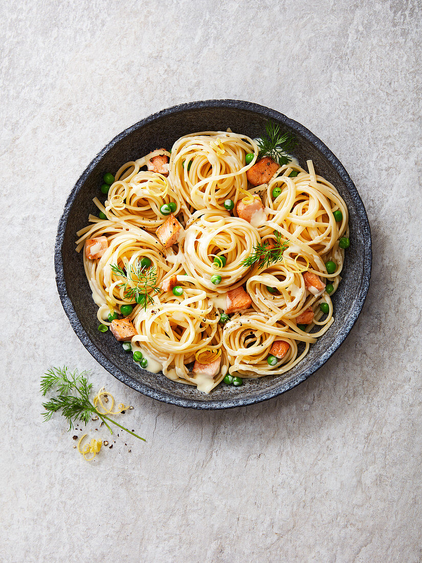 Linguine with salmon, peas, dill, lemon zest and a creamy sauce