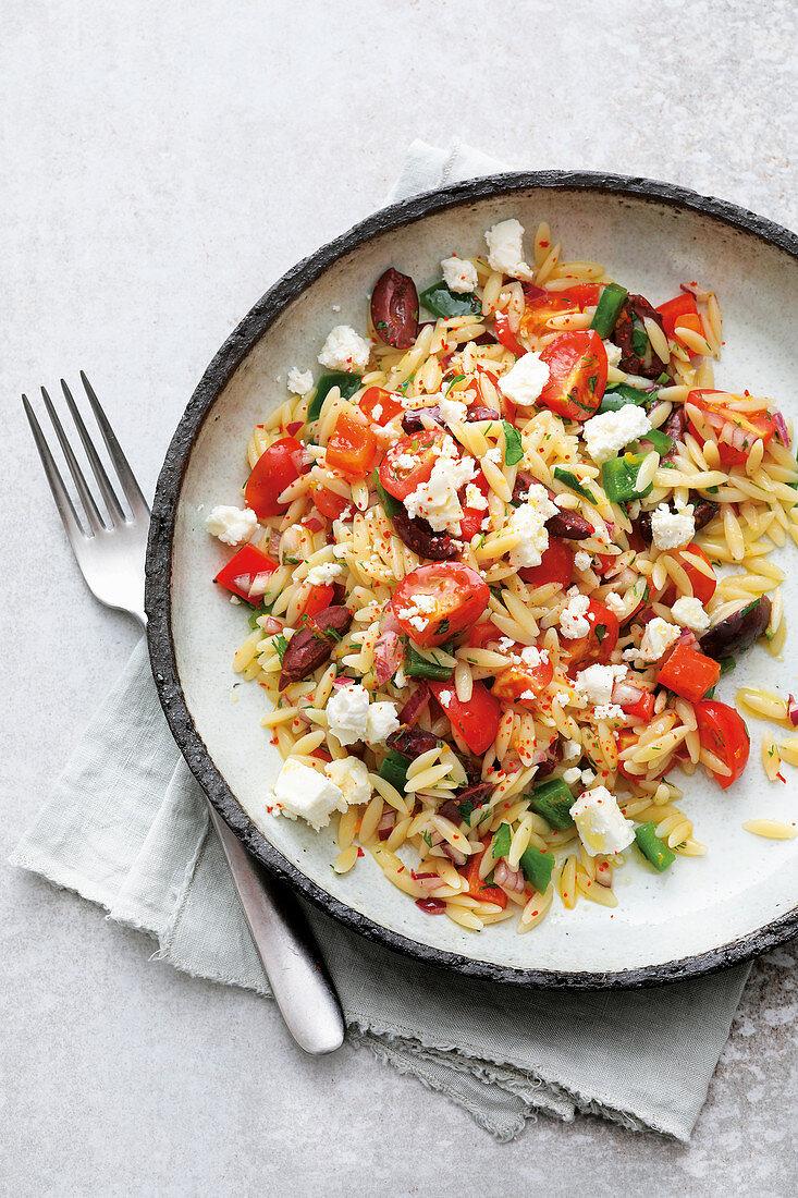 Greek pasta salad with feta cheese