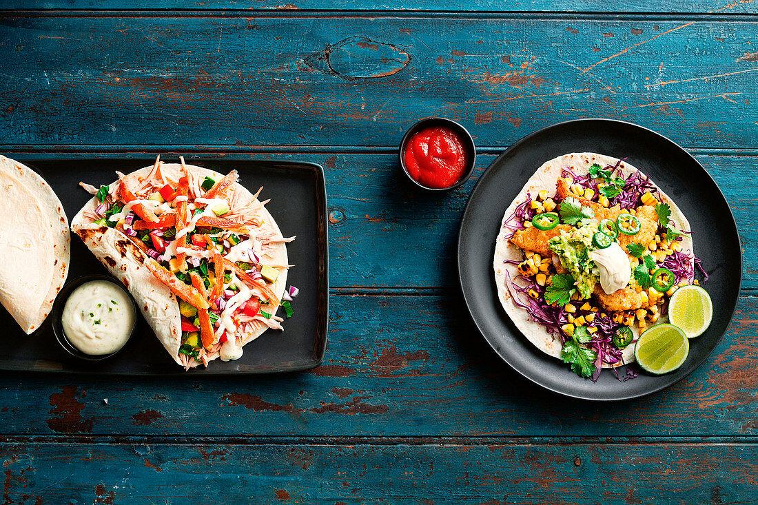 Pork shoulder tacos and Fish tacos