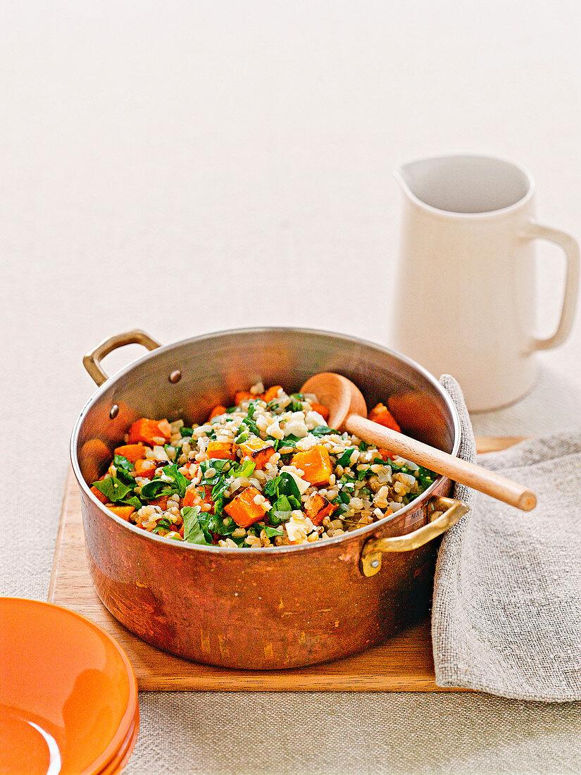 Pearl barley and rocket risotto with pumpkin