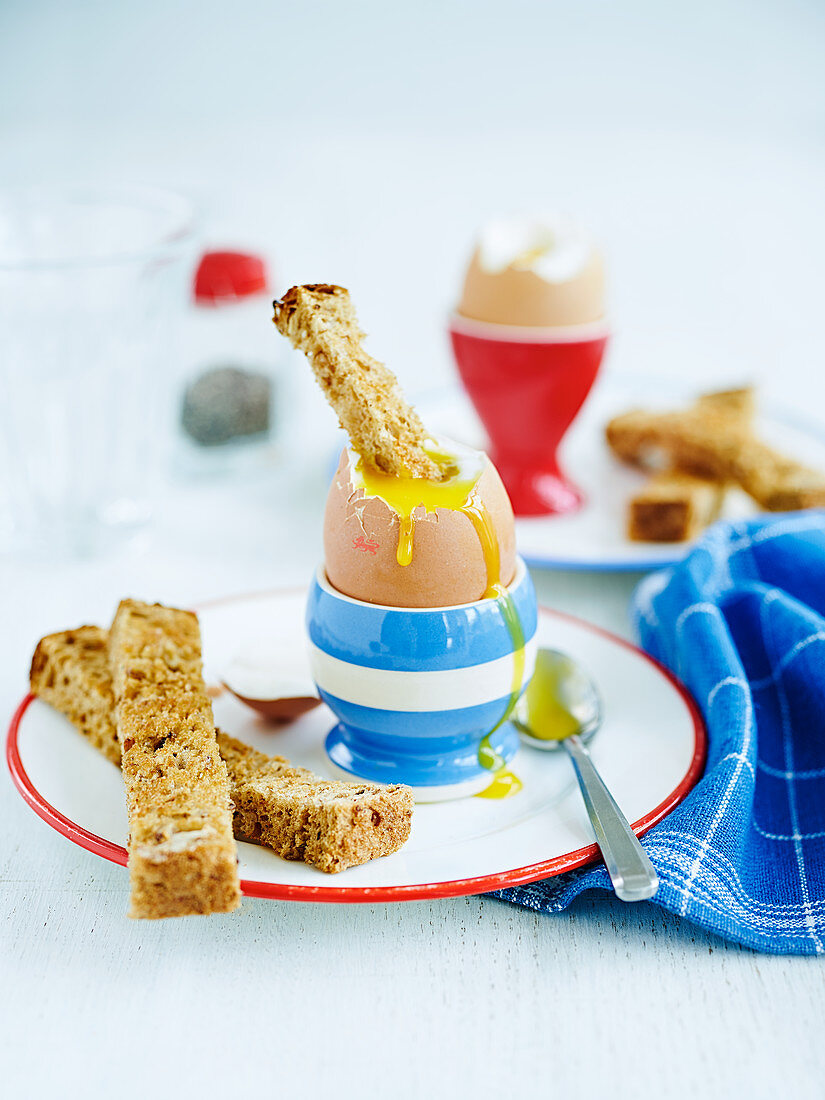 Egg And Soldiers (a soft egg with toast strips, England)