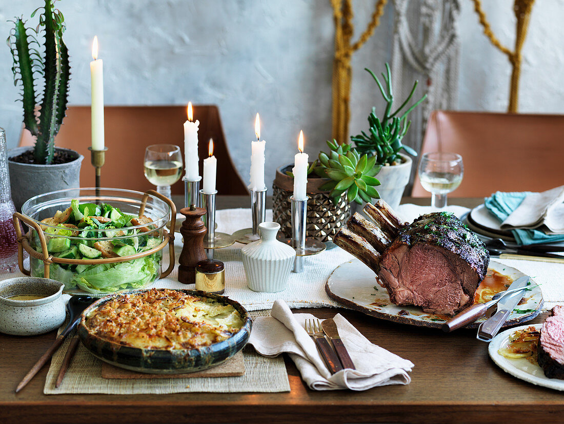 Beef rib roast layered green salad and potato gratin (1970s)